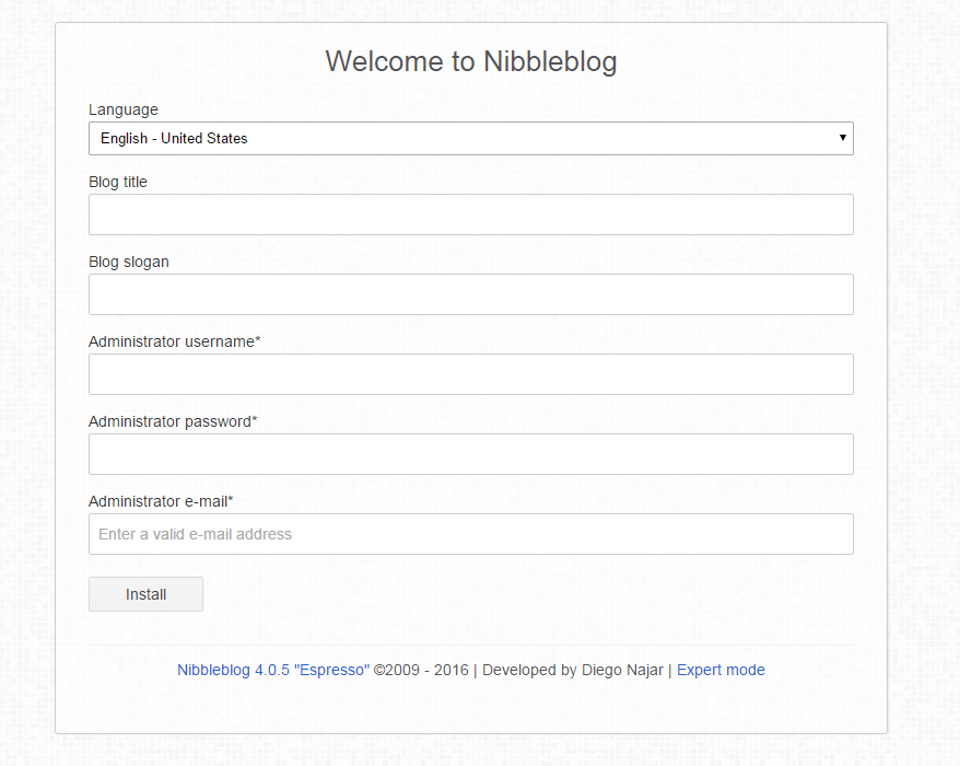 nibbleblog welcome page
