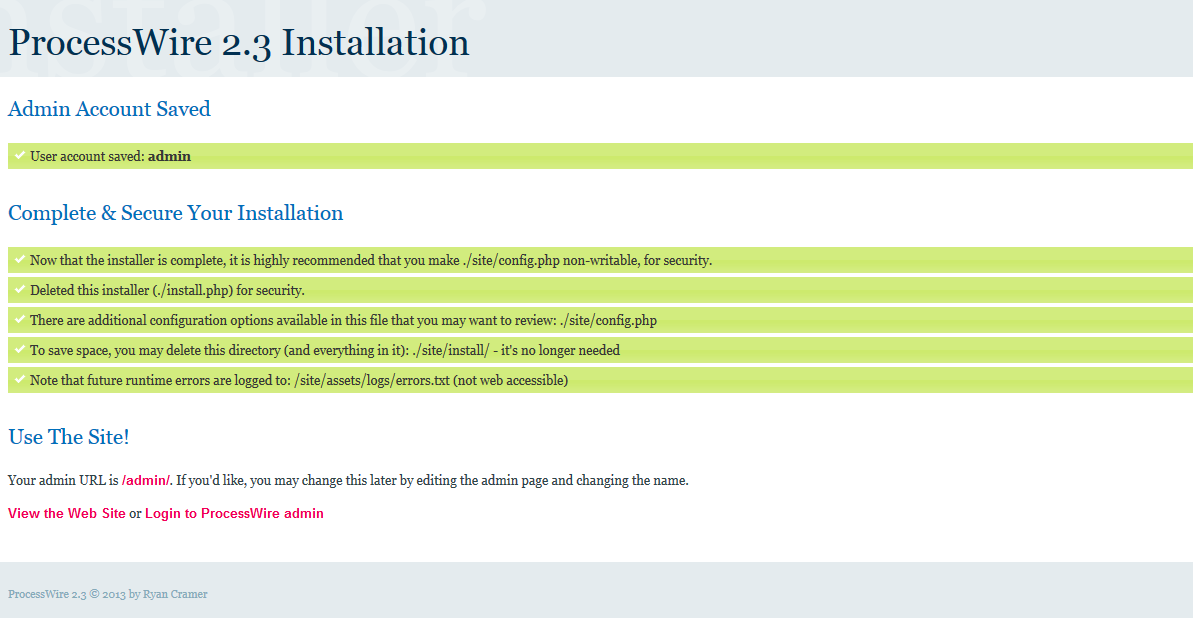processwire finished install