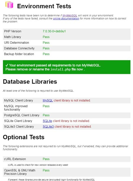 How to install MyWebSQL on Debian 9